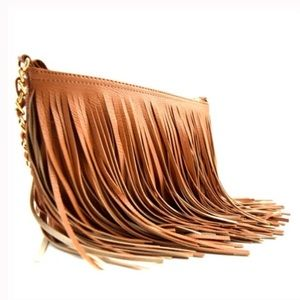Handbags - Tan crossbody bag with fringe!